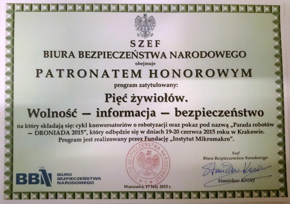 patronat szefa BBN, fot: 5zywiolow.pl